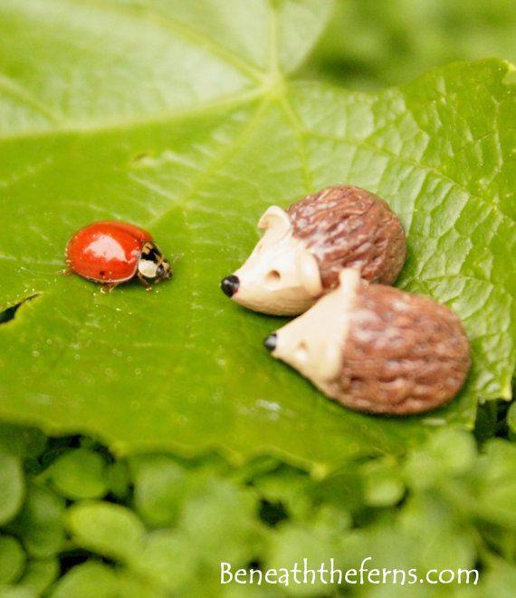 Hedgehog miniature figurine for fairy gardens made from polymer clay