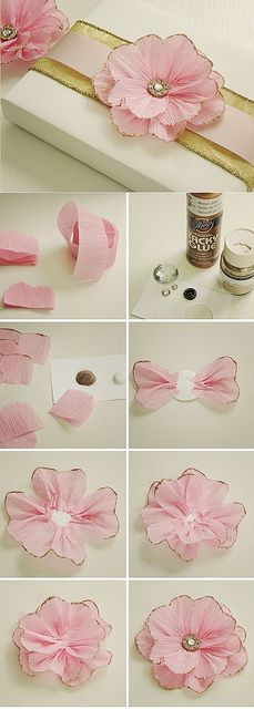 beautiful DIY pink tissue flower with gold edges for gift wrapping