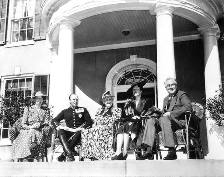 Norwegian Royalty with Mr. and Mrs. Franklin Roosevelt  Hyde Park, New York: Norwegian Royalty Guests Of President Roosevelt. Mrs. Roosevelt, Crown Prince Olav of Norway, Sara Delano Roosevelt, the President's mother; Crown Princess Martha and President Roosevelt, (from left to right), are shown seated on a porch of the Roosevelt home at Hyde Park, April 30th, as the Norwegian Royalty were guests of the President and First Lady. May 01, 1939 http://en.wikipedia.org/wiki/Hyde_Park,_New_York…