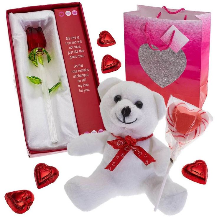 Valentines Day Gift For Her Glass Flower Rose Love Poem Bear Hearts New #1
