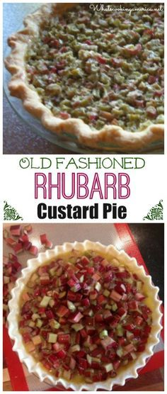 Old Fashioned Rhubarb Custard Pie Recipe  |  whatscookingamerica.net  | #rhubarb #custard #pie