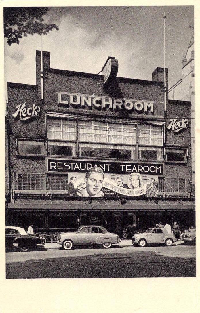 Amsterdam - Heck's Lunchroom Rest. & Tearoom met o.a. het showorkest van Boyd Bachman.