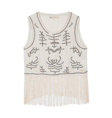 Fringed top with handmade embellishment