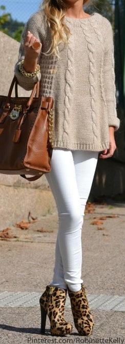 leopard booties, white skinnies, tan sweater