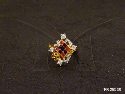FR-253-36 || CROSS CHEACKS DIAMOND SHAPED AD FINGE...