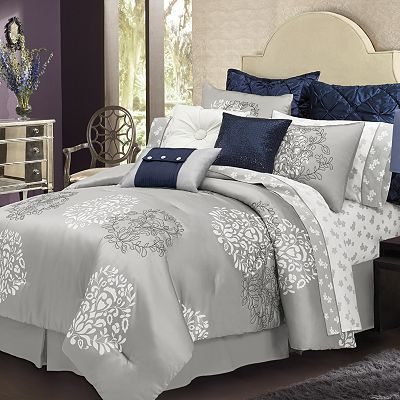 I Love This Silver Bed Set Without The Blue Accent