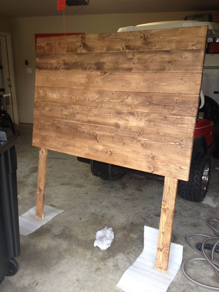 DIY (full size) headboard. 7 - 1x6x6 boards from Lowe's 2 - 1x4x6