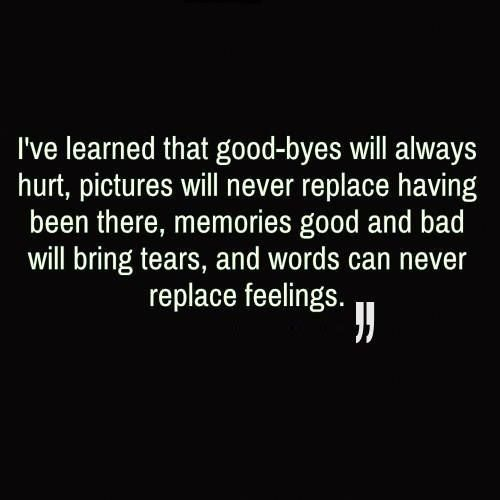 I've learned that good-byes will always hurt, pictures will never replace having been there, memories good and bad will bring tears, and words can never replace feelings.