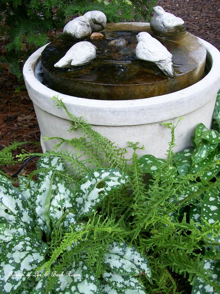 Birdbath fountain w/lungwort and fern  (Garden of Len & Barb Rosen ) 6/23/2012