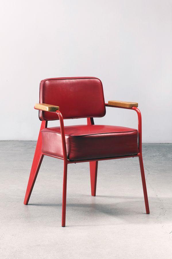 Jean Prouvé / bridge office chair, 1951 Chaise rouge le design en des années 50 #vintage