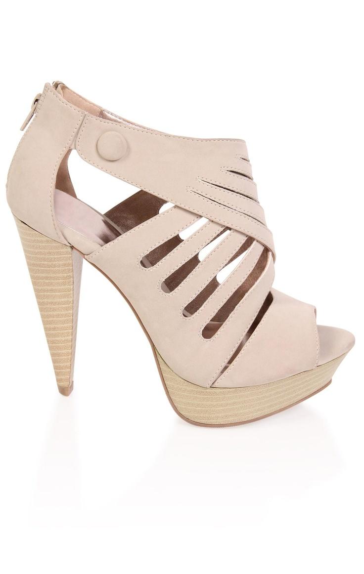 peep toe caged wood high heel - debshops.com