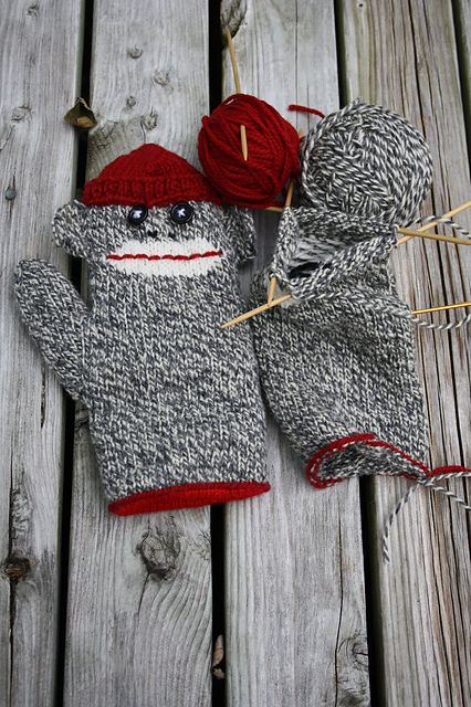 sock monkey mittens