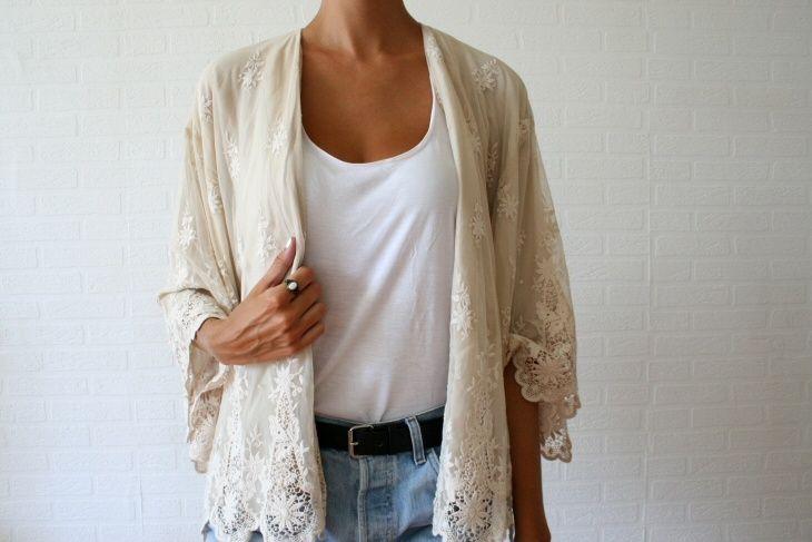 : Light Pink Blazers, Capes, Lace Jackets, Jeans, Beige Lace, Closet, Lace Shirts, Lace Cardigans, Crochet Shrug