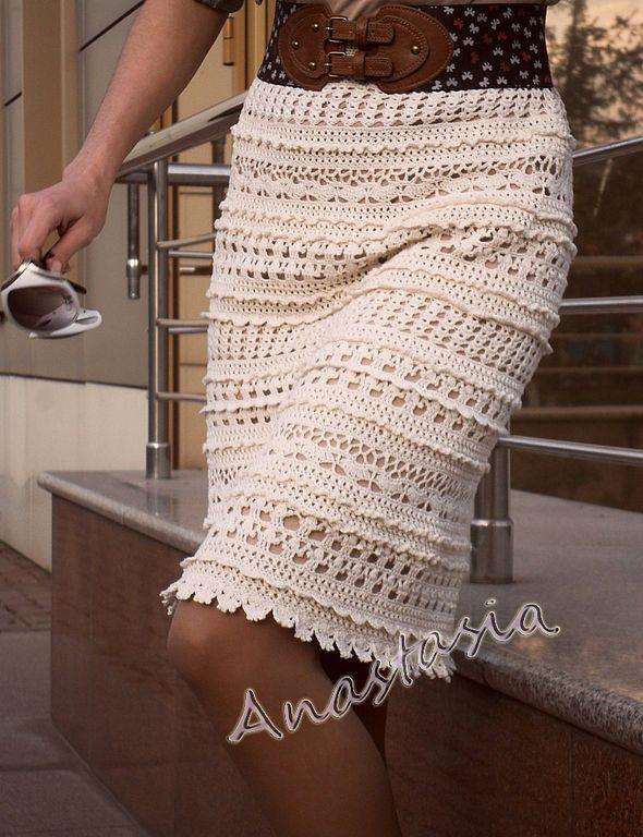 Юбка вязаная в стиле Ванессы Монторо - юбка, вязаная юбка, летняя юбка, белая