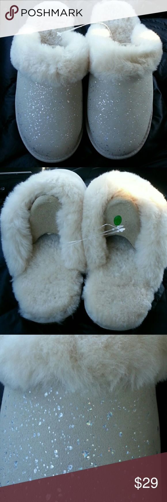 Sheepskin Slippers 100 percent Australian Sheepskin sparkle scuff slippers.  New, cream color, comes with box. Members Mark Shoes Slippers
