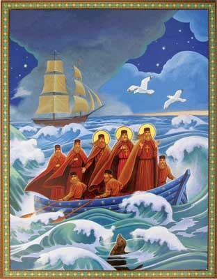 First Mission to Alaska (1794)  Saints Herman, Juvenaly, and Ioasaph come ashore, bringing the Orthodox Faith to the New World.