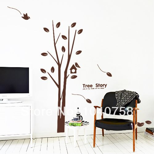 Large Brown/White Family Tree Branch Of Tree Love Quotes Wall Stickers With  Birds And Part 75