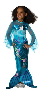 The fascination with mermaids for little girls is a very powerful one. This costume is sure to make any little girl excited! Blue dress with multicolor designs with an underwater motif and attached fi