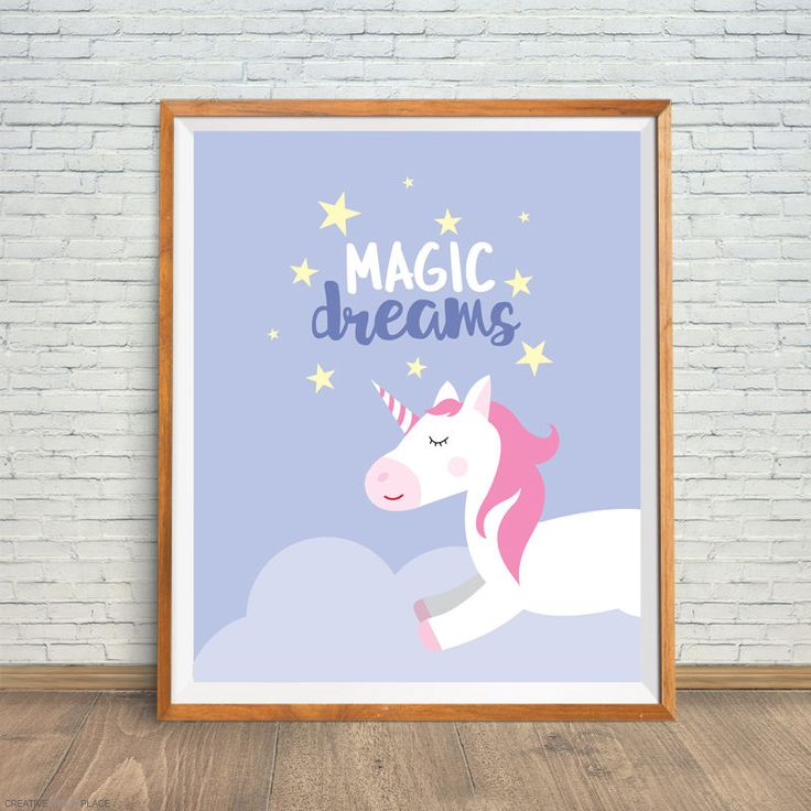 Unicorn Printable, Unicorn Digital Print, Unicorn Nursery Decor, Unicorn Wall Art, Unicorn Nursery Print, Unicorn Magic Dreams, Unicorn Art by CreativePrintsPlace on Etsy