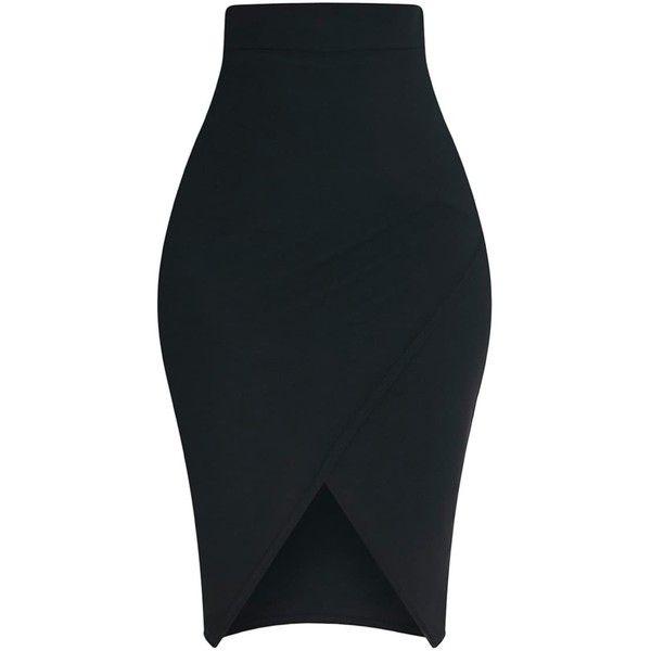Aislynn Black Wrap Midi Skirt (24 CAD) ❤ liked on Polyvore featuring skirts, calf length skirts, textured skirt, wrap skirts, mid calf skirts and midi wrap skirt