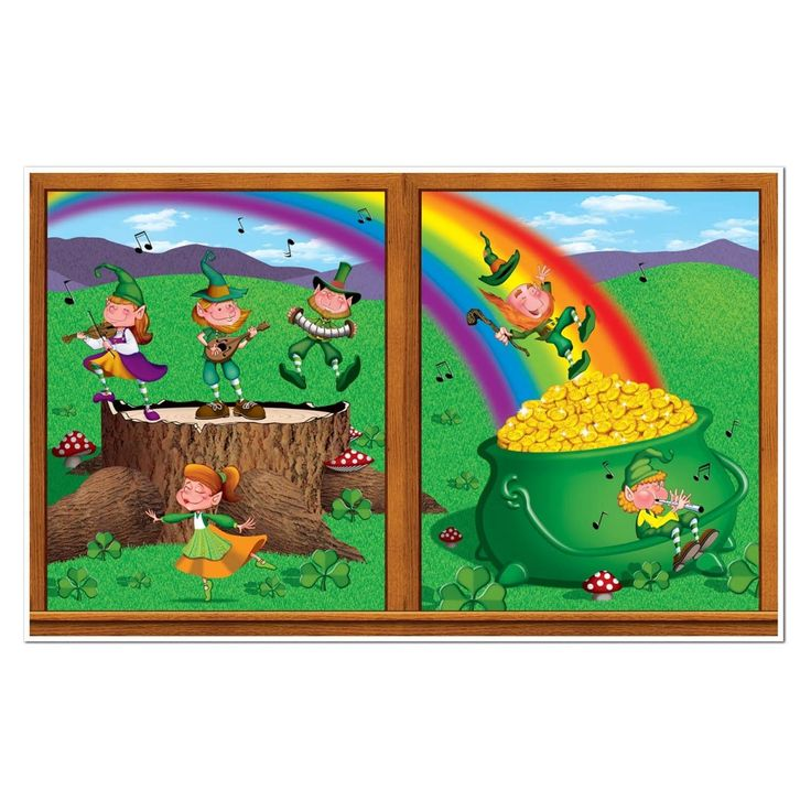 """Pack of 6 St. Patrick's Day Leprechaun and Pot-O-Gold Wall Decoration 38"""" x 62"""", Green"""