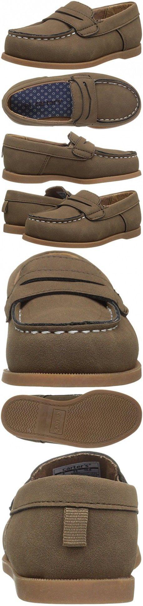 Carter's Boys' Simon4 Slip-on Boat Shoe Loafer, Brown, 10 M US Toddler