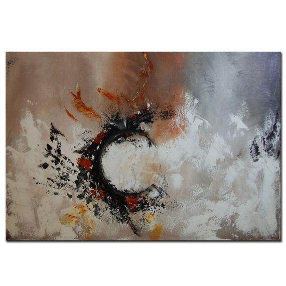Astratto pittura pittura nera grigio grande pittura di BuyWallArt