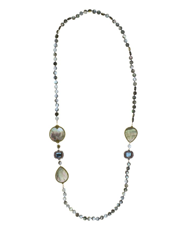 Necklace made of sterling silver 925 with mother of pearl stones