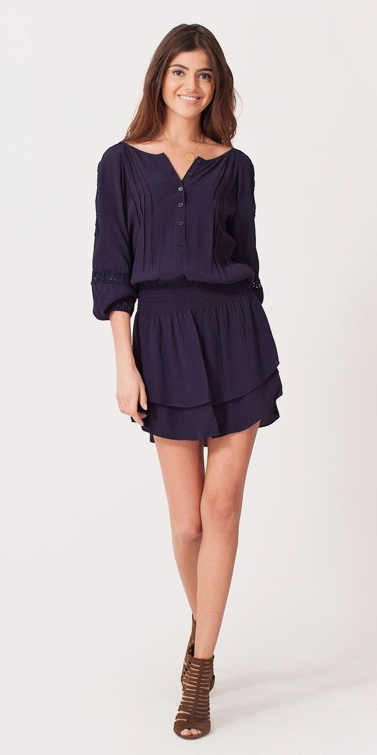 Navy Crochet Crepe Shirt Dress