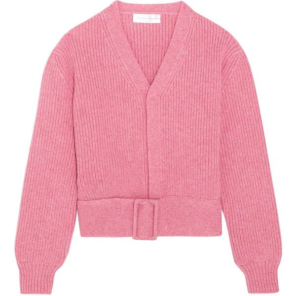 Victoria Beckham Belted wool cardigan (£775) ❤ liked on Polyvore featuring tops, cardigans, cardigan top, victoria beckham, pink wool cardigan, belted cardigans and victoria beckham tops