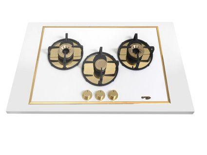 Pramar Stone Dekton Flat 3 Burners Hob. Arc golden burners.