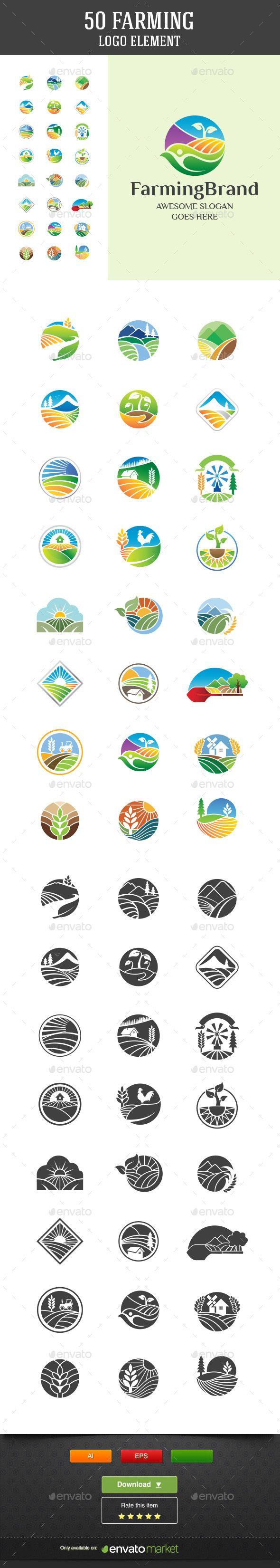 50 Farming Vector Logo Elements - Nature Conceptual