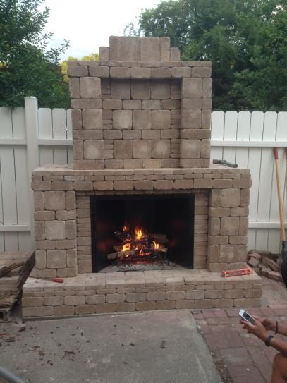 Pavestone RumbleStone 84 in. x 38.5 in. x 94.5 in. Outdoor Stone Fireplace in Cafe 53369 at The Home Depot - Mobile