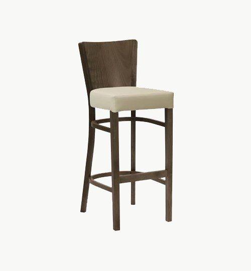 Barstol med klädd sits, många tyger och träfärger att välja på. Ingår i en serie med vanlig stol samt karmstol. Barstolen är tillverkad i trä med bets samt med ett sittskal som är stoppat/klätt. Stolen väger 8,6 kg och är något tyngre men stadigare.  Tyg Lido 100 % polyester, brandklassad. Tyg Luxury, 100 % polyester, brandklassad. Konstläder Pisa, brandklassad, 88,5% PVC, 11,5% polyester.