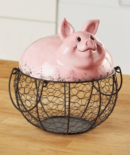 Farm Pig Wire Food Storage Basket Country Kitchen Animal Whimsy Home Decor New