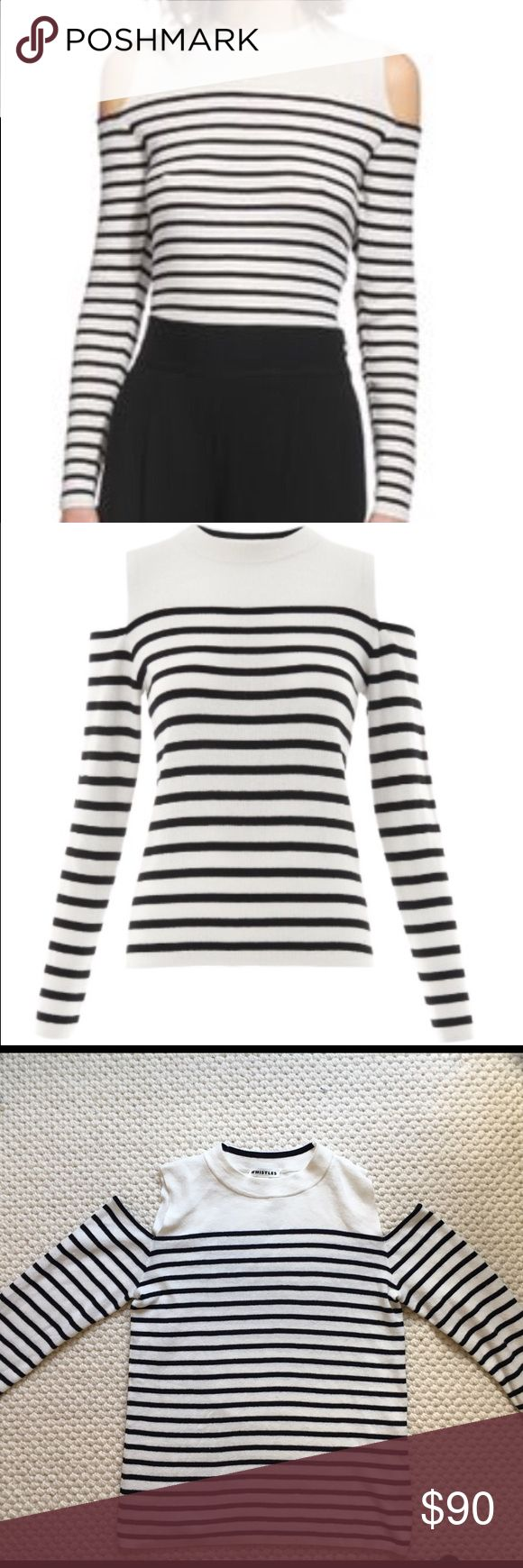 NEW WHISTLES COLD SHOULDER STRIPED KNIT TOP $180 NEW WHISTLES COLD SHOULDER STRIPED KNIT SWEATER TOP BLACK WHITE S SOLD OUT $180 BRAND NEW WITHOUT TAGS COMPLETELY SOLD OUT ONLINE AND IN STORES This fine knit features on-trend shoulder cut-outs. A slim fit and long sleeves make it a chic and practical choice for evening while the Breton-style stripes are timeless and clean Cut-out shoulders Slim fit Length: (from shoulder to hem): 23 in Size Small Black & White Composition: 60% Cotton, 40%…
