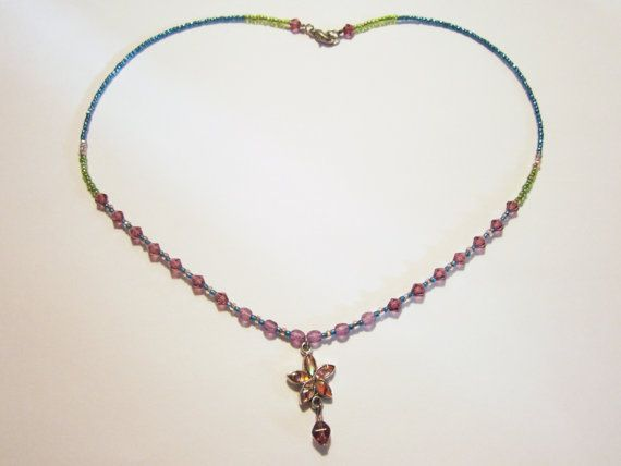 Vintage Colourful Bead and Flower Necklace by NewUsedVintage, $11.00