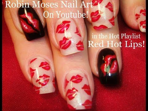 2 Nail Art Tutorials | DIY Easy Nail Art for Beginners | Red Hot Kiss Nails - YouTube