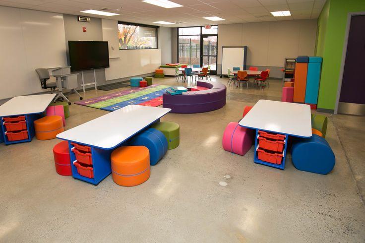 21st century elementary classroom in Turlock, CA. Featuring NorvaNivel T-Table and Rocker Ott, and Junior Rainbow.