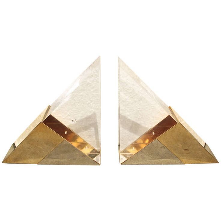 A Nice Pair of Decorative Mixed Metal and Lucite Bookends in the Manner of Springer | 1stdibs.com