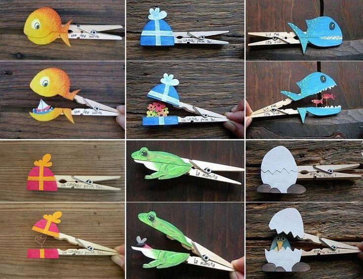 Voici une activité ludique à réaliser avec vos enfants, ou simplement pour offrir un petit cadeau original. Il vous suffira d'une pince à linge, d'un peu de col, de carton et de feutres ou crayons. Ensuite, voici tout un tas d'idées faciles à reproduire !