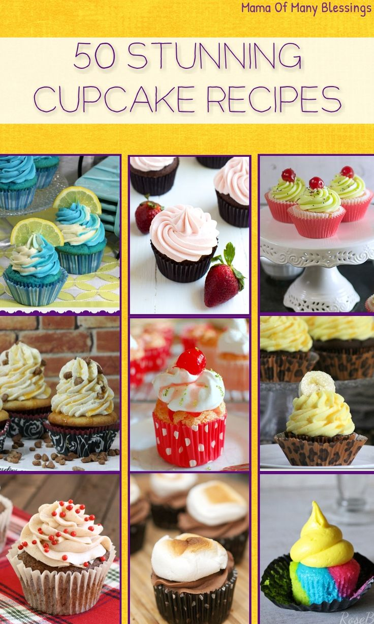 50 mouth watering amazingly delicious cupcake recipes. Recipe ideas you have never even thought of. Perfect for your holiday parties or even for birthday parties.