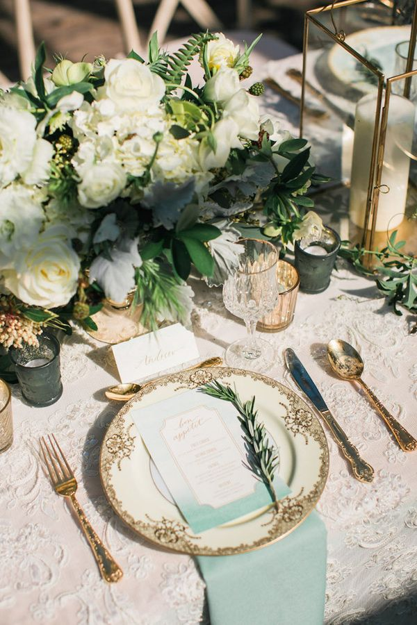 aqua gold wedding reception - photo by Erin J Saldana Photography http://ruffledblog.com/romantic-organic-wedding-at-elysian-la
