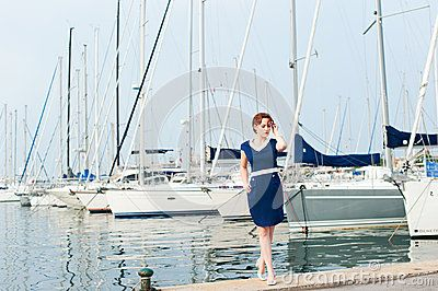 Woman and yachts