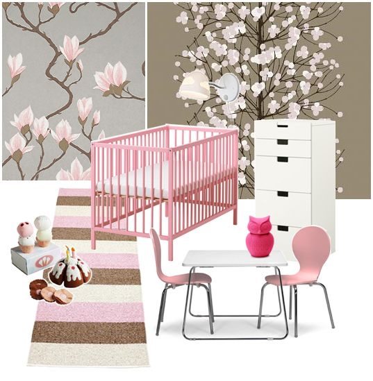 room for children. pink, white and brown!
