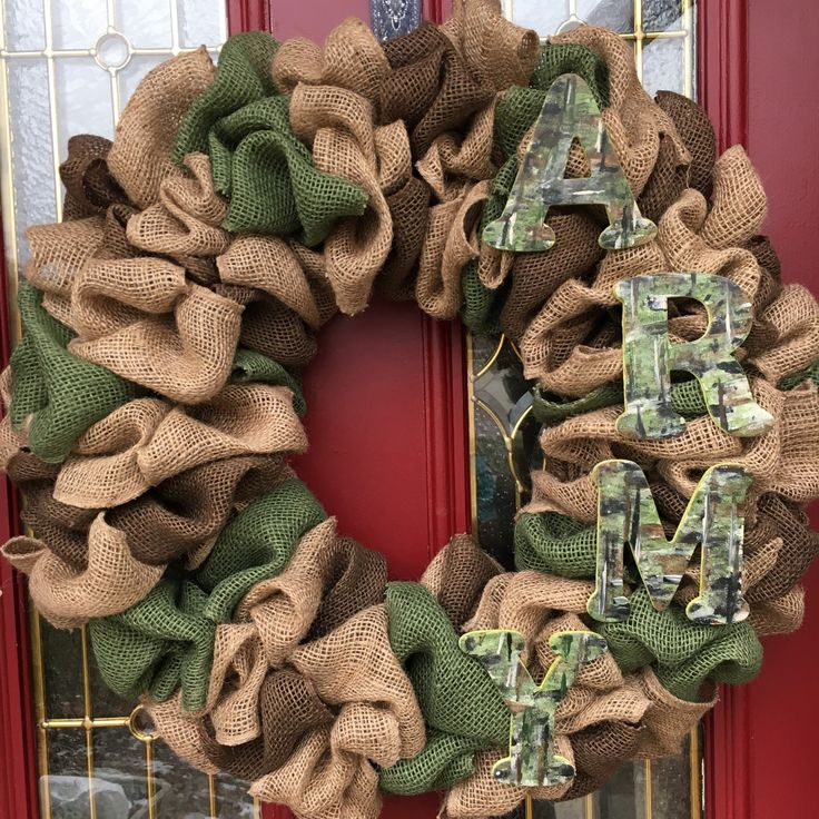 @EmilysBurlapWreaths on ETSY- Handmade U.S. Army Burlap wreath for front door or interior wall! I make these all by myself and would love to make YOU one! Message me for details or go to my Etsy!
