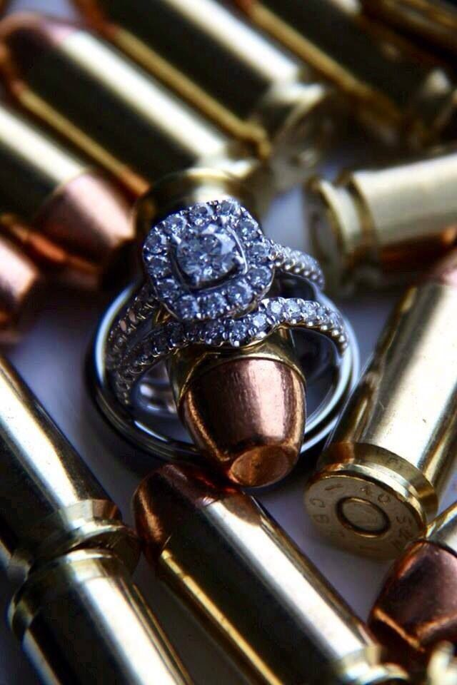 police wedding, rings and bullets, wedding ring close up