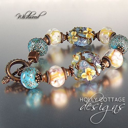 lampwork and copper bracelet