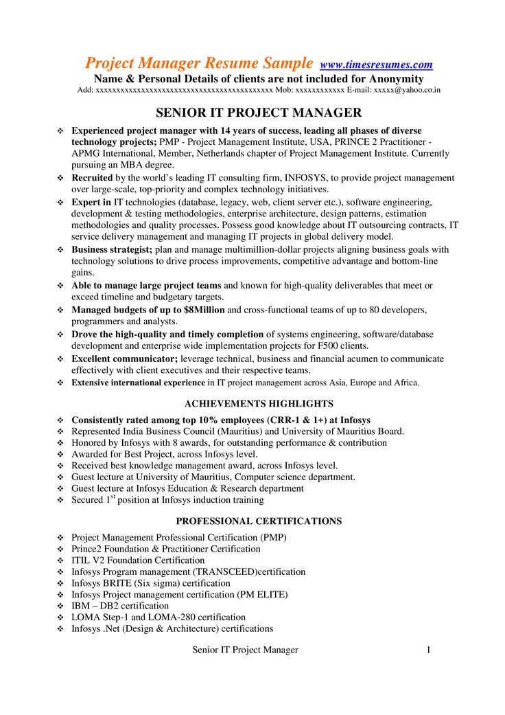 How to draft a senior it project manager resume download