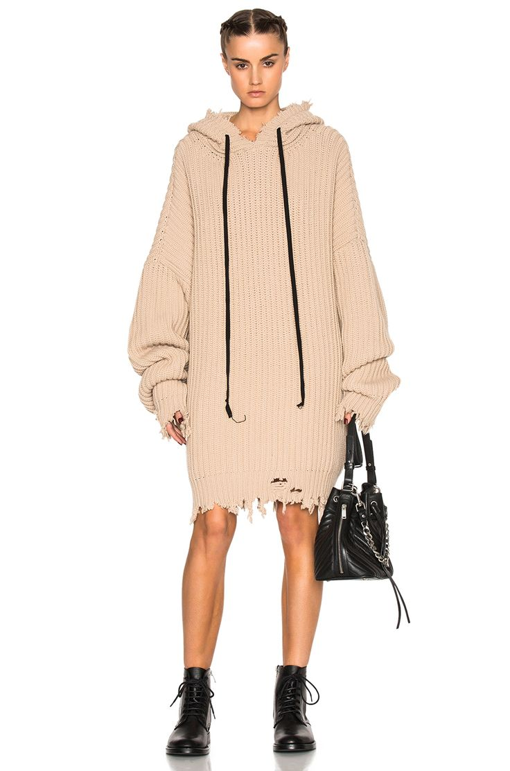 Image 1 of Unravel Oversize Rib Knit Hoodie in Nude